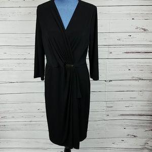 NWT Black Faux Wrap Charter Club Dress